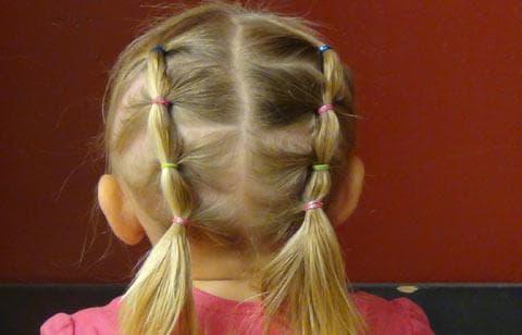 причёска двухсторонний «ручеек» с резинками для девочек