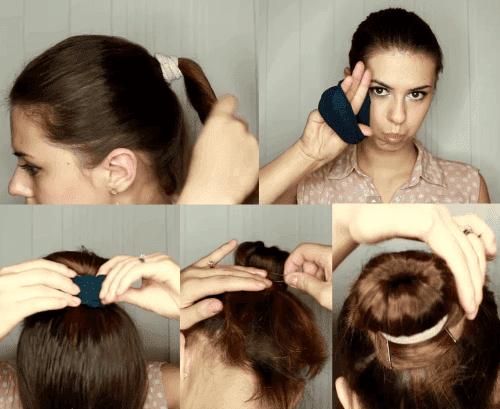 как делать прически с бубликом на короткие волосы