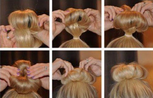как делать прически с бубликом на средние волосы