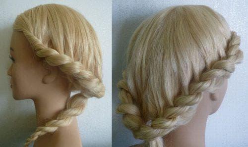 коса из двух жгутиков с резинкой на средние волосы