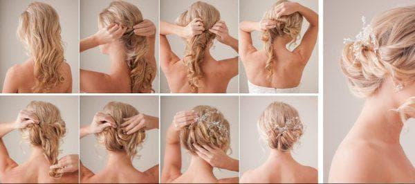 как красиво заколоть вьющиеся волосы средней длины