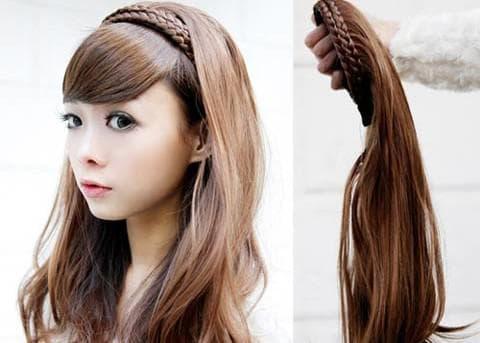 ободок из косы с накладными волосами