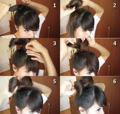бант из волос с резинками на длинные волосы