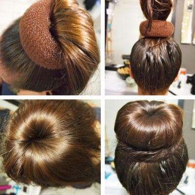 пучок из волос с резинками на длинные волосы