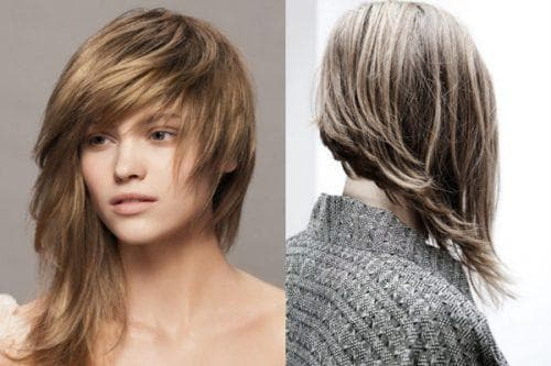 трапециевидное каре на длинные волосы