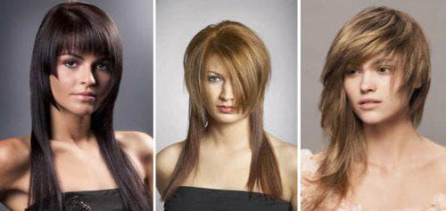 асимметричная с чёлкой на густые прямые волосы