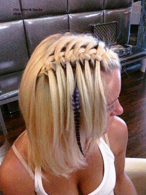 коса-водопад с чёлкой на средние волосы