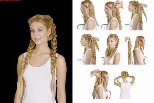 причёска с косами с накладными волосами