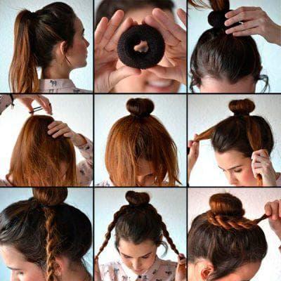 шишка из волос с помощью бублика