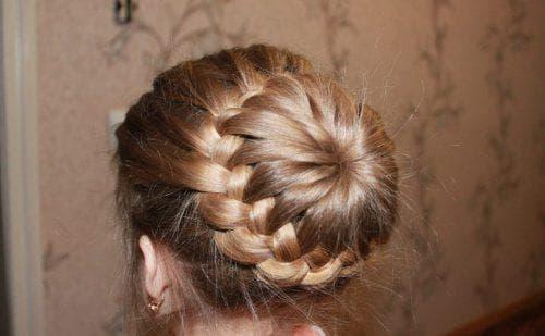 плетение коса пучок на длинные волосы для детей