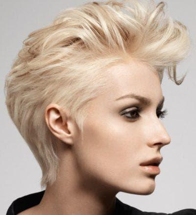 укладка коротких волос с приподнятой челкой