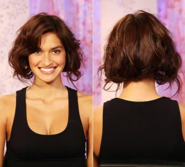 прямое каре на волнистые волосы